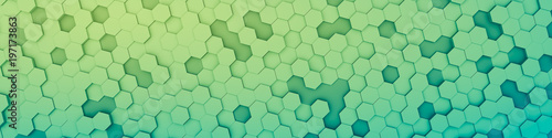 green hexagon background
