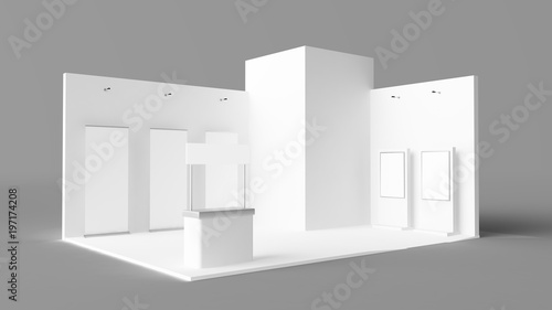 Fotografie, Obraz exhibition stand with pos, pois, reception desk and rollers
