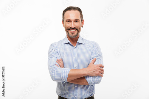 Fototapety, obrazy: Cheerful handsome mature businessman