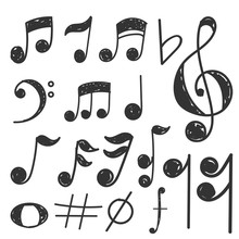 Music Note Hand Draw Set Conce...