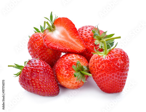 Deurstickers Dessert Strawberry isolated on white background.