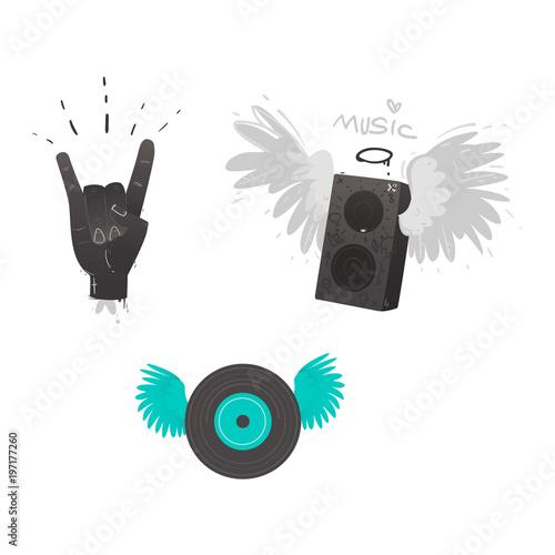 Vector flat music symbols set  Hand rock gesture, loudspeaker with