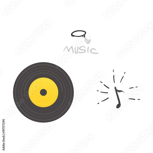 Vector flat music symbols set  Retro vintage black vinyl record