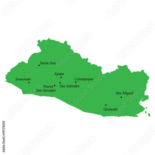 High quality map El Salvador with cities - Buy this stock vector and on