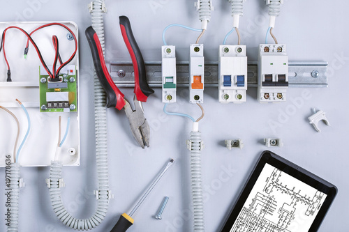 Set electrical equipment and tools for repair electricity distribution box Fototapeta