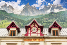Chamonix Mont Blanc Train Station, Les Aiguilles De Chamonix In The Backgound, The Alps, France