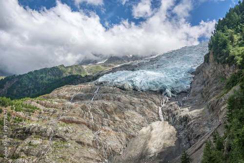Valokuva  View on the lower end of The Bossons glacier, in Chamonix Mont Blanc Massif, The