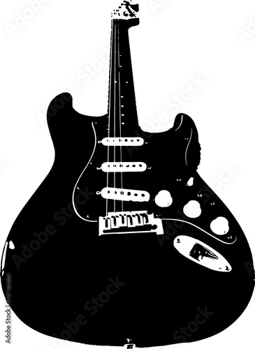 Photo  Vector image of electric guitar - telecaster. Black and white.
