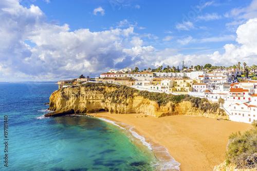 Plakat Beautiful beach and cliffs in Carvoeiro, Algarve, Portugal