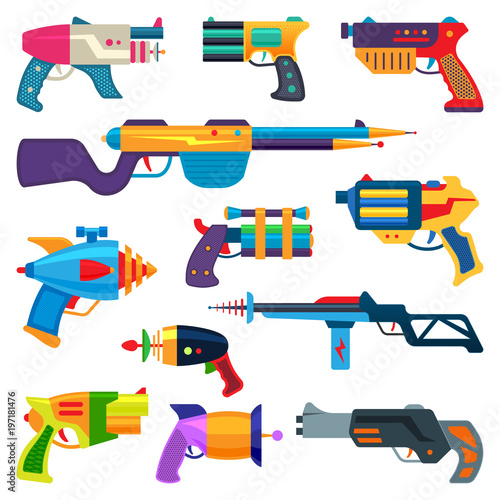 Photo Cartoon gun vector toy blaster for kids game with handgun and raygun of aliens i