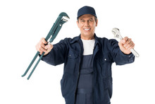 Professional Plumber In Overalls Holding Wrenches Isolated On White