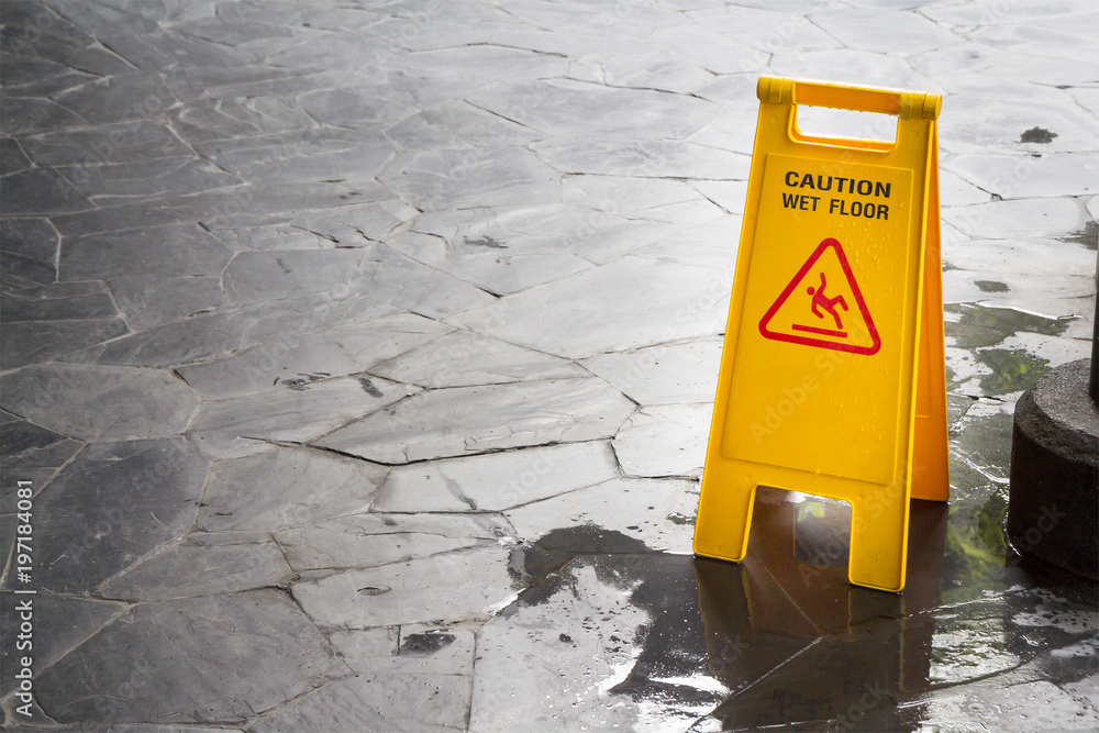 Fototapety, obrazy: wet floor sign with water drops on wet stone floor