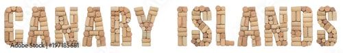 Staande foto Canarische Eilanden Wine region of Spain Canary Islands made of wine corks Isolated on white background