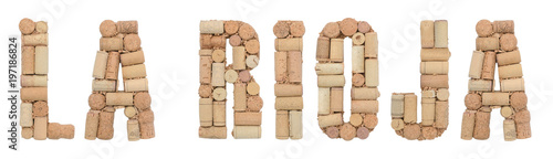 Wine region of Argentina La Rioja made of wine corks Isolated on white background
