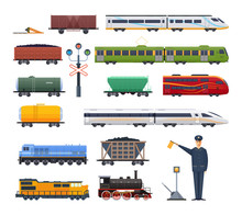 Railway Locomotive With Various Wagons Passenger, And Cargo.