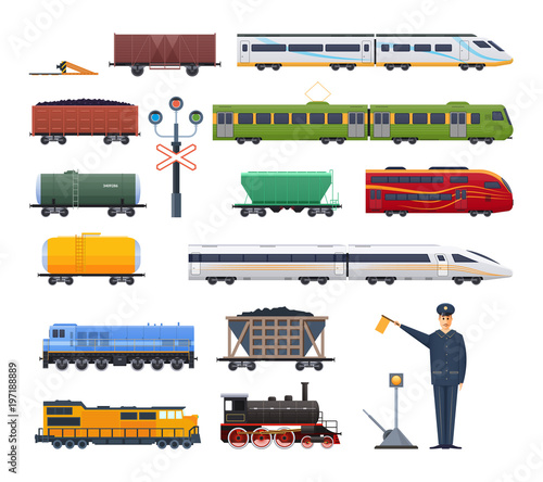 Fotografía Railway locomotive with various wagons passenger, and cargo.