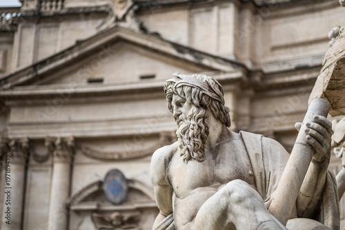 Fotografie, Obraz  Fontana dei Quattro Fiumi - Fountain of the Four Rivers, Rome
