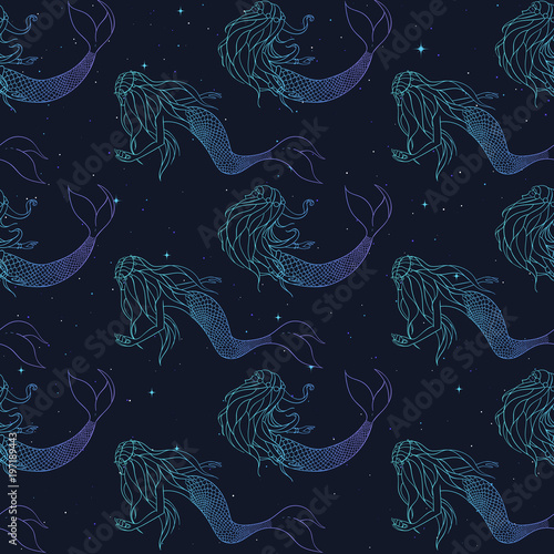 Cotton fabric Beautiful mermaids gradient contours vector seamless pattern. Underwater mythical creatures on the starry background. Fantasy backdrop.