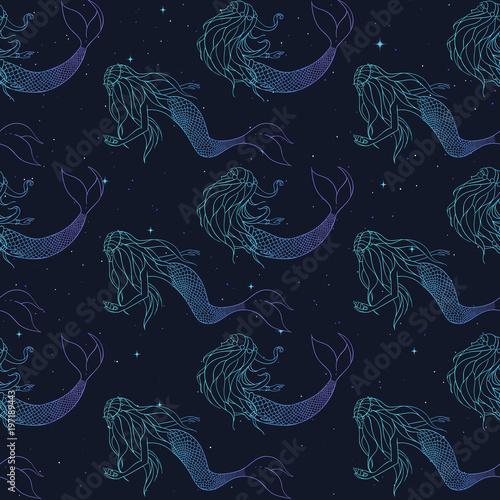 Materiał do szycia Piękne syreny Izolinie gradientu wektor wzór. Podwodne mitycznych stworzeń na rozgwieżdżone tle. Tło Fantasy.