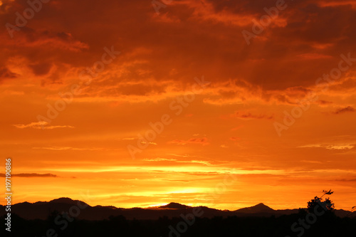 Foto op Canvas Baksteen beautiful Orange sky In the evening summer Asia