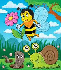 Fototapeta Do przedszkola Meadow with small animals and insect 2