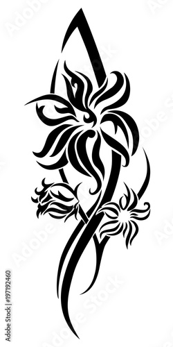 0ef86cba2 Black flower tribal tattoo - Buy this stock vector and explore ...