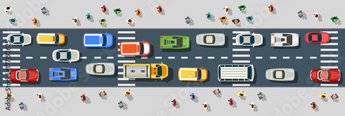 Obraz Top view from above on a city street with cars and people - fototapety do salonu
