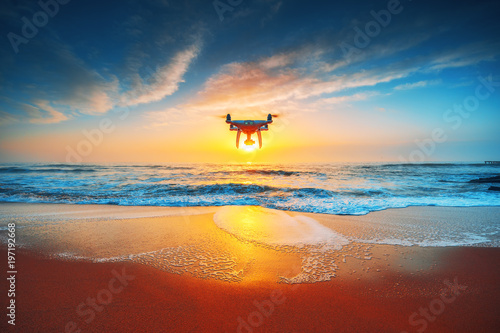 Beautiful morning over the sea and flying drone Canvas-taulu