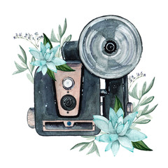 Vintage retro watercolor ca...