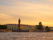 View towards the Rostral Columns at sunset. Saint Petersburg, Russia