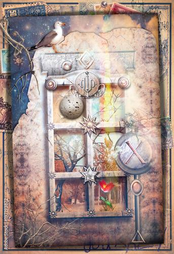 Poster Imagination Finestra incantata in uno scenario fiabesco e surreale