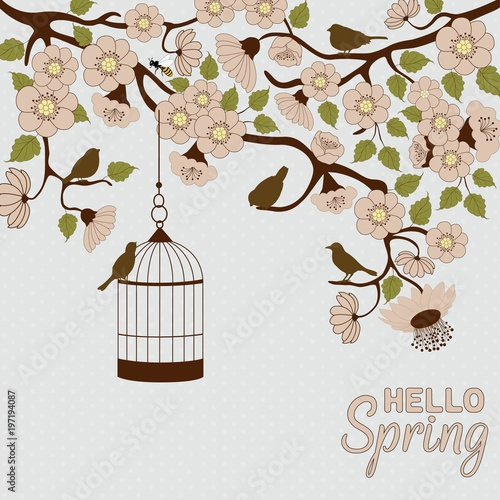 Recess Fitting Birds in cages Floral branch with birds and birdcage. HELLO Spring.