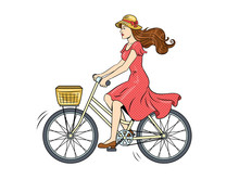 Young Woman Ride On Bicycle Po...