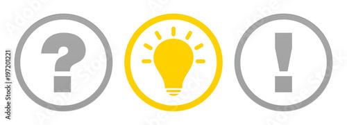 Fotografia  3 Buttons Question, Idea & Answer Grey/Yellow Outline