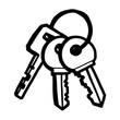keys / cartoon vector and illustration, black and white, hand drawn, sketch style, isolated on white background.