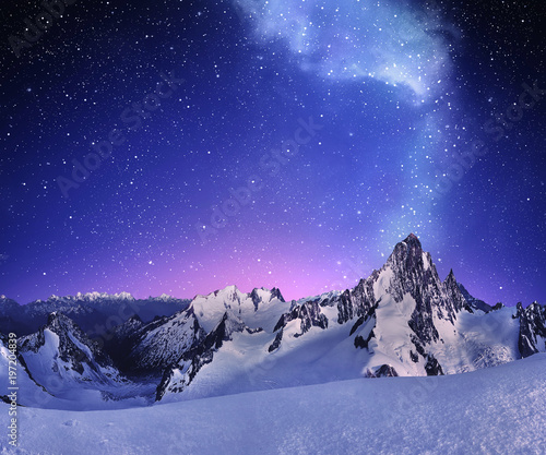 Poster Dark blue mountain landscape under clear starry sky