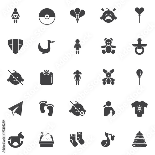 Baby vector icons set, modern solid symbol collection, filled style pictogram pack Poster
