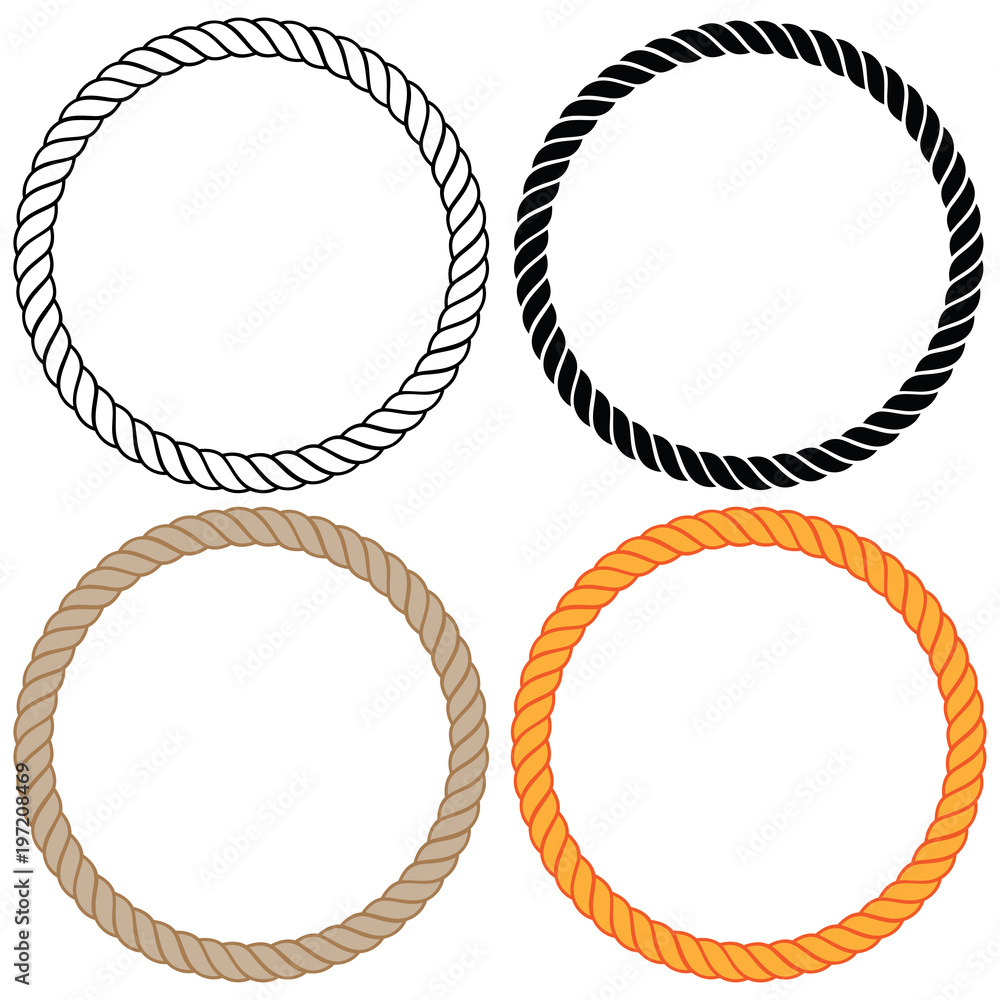 Fototapety, obrazy: Braided twisted rope circles vector illustration