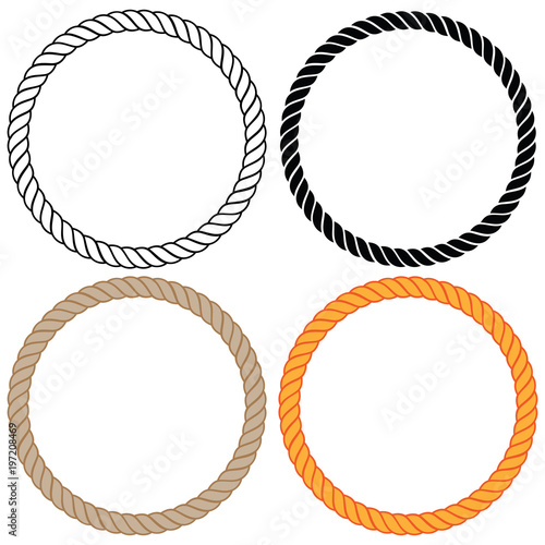 Fényképezés Braided twisted rope circles Isolated vector illustration