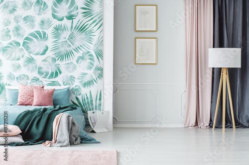 Fotografie, Obraz  Cozy pale green and pink bedroom