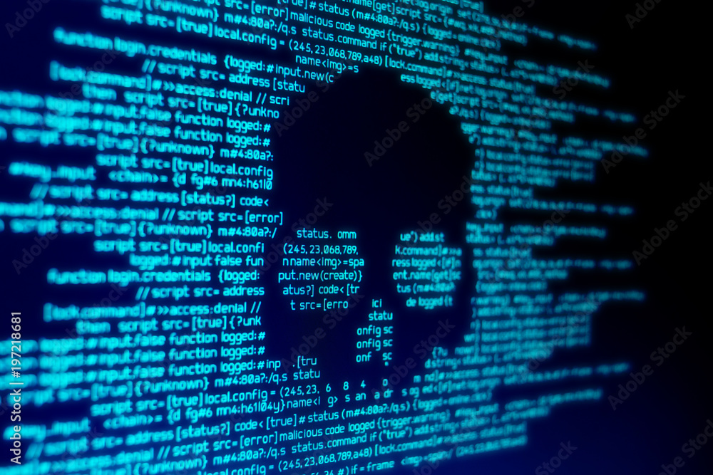 Fototapeta Computer code on a screen with a skull representing a computer virus / malware attack.
