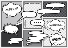 A Set Of Various Vector Cartoon Comic Speech Bubbles.