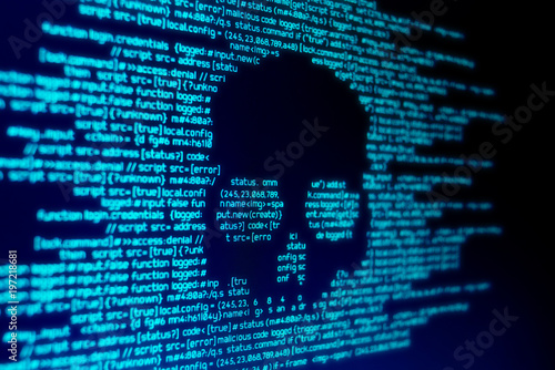 Computer code on a screen with a skull representing a computer virus / malware attack Fototapeta