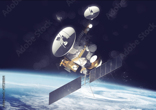 Obraz A satellite probe tracking information and data in space. 3D Illustration - fototapety do salonu