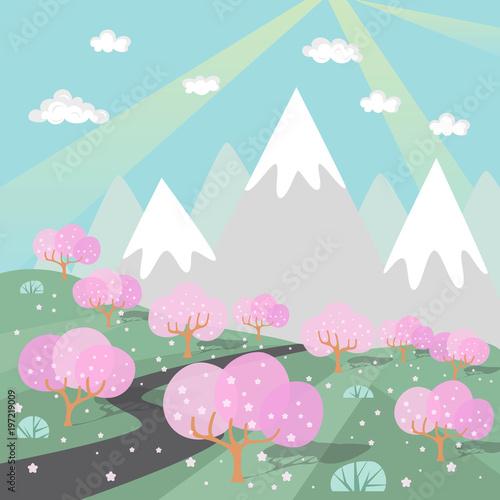 krajobraz-gorski-z-drzewami-kwiatow-wisni-dziecieca-grafika