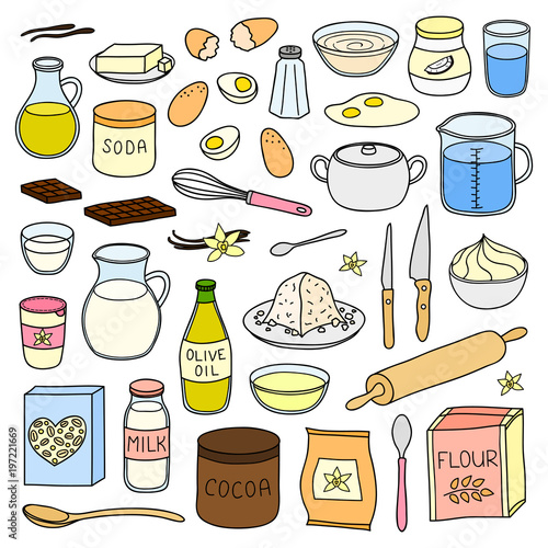 Foto Set of hand drawn cooking, baking ingredients.