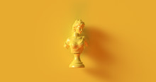 Yellow Bust Sculpture 3d Illus...