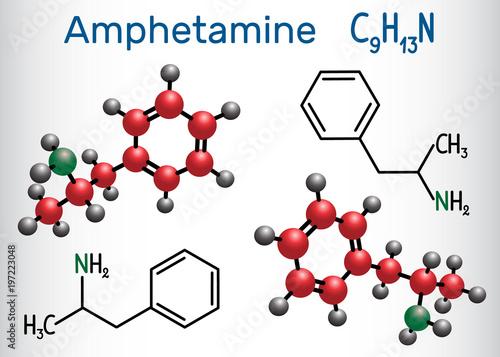 Fotografie, Obraz  Amfetamine (amphetamine, C9H13N) molecule, is a potent central nervous system (CNS) stimulant