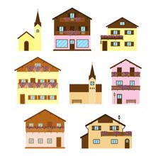 Set Of Alpine Wooden Houses.