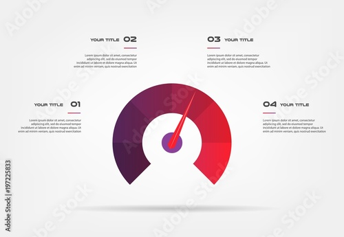 Photo  Speedometer infographics with circle